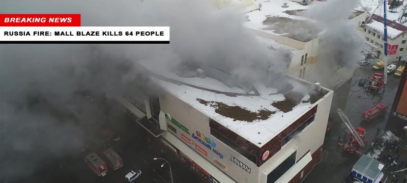 Brand winkelcentrum Rusland